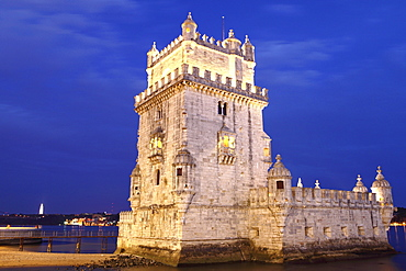 The Tower of Belem (Torre de Belem), the 16th century Manueline fortress, UNESCO World Heritage Site, on the River Tagus (Rio Tejo), Belem, Lisbon, Portugal, Europe