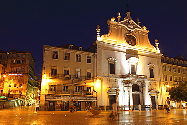 The Baroque style Leitaria Sao Domingos church, illuminated at night, in the Baixa district, Lisbon, Portugal, Europe