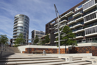 Contemporary buildings at Vasco da Gama Platz in the recently developed HafenCity district of Hamburg, Germany, Europe