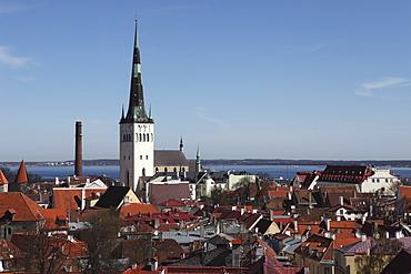 The spire of St Olaf's Church (St Olav's Church) (Oleviste kirik) on the city skyline of Tallinn, Estonia, by the Gulf of Finland, Europe