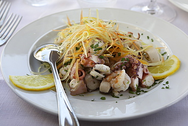 A seafood salad made with freshly caught octopus served in Monopoli, Apulia, Italy, Europe