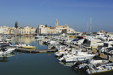 Boats in the harbour by the cathedral of St. Nicholas the Pilgrim (San Nicola Pellegrino) in Trani, Apulia, Italy, Europe
