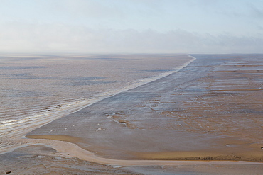 Mudflats, seen from Hopewell Rocks, on the Bay of Fundy, the location of the highest tides in the world, New Brunswick, Canada, North America