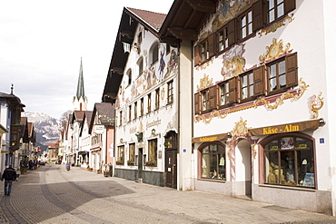 Traditional Bavarian buildings on the historic Ludwigstrasse in the Partenkirchen side of Garmisch-Partenkirchen, Bavaria, Germany, Europe