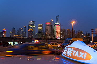Pudong District view from the top of a cab at The Bund, Huangpu District, Shanghai, China, Asia