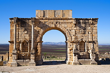 Arch in the Roman city of Volubilis, Morocco, North Africa, Africa