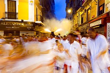 El Toro de Fuego (Firework Bull Run), San Fermin festival, Town Hall Square, Pamplona, Navarra (Navarre), Spain, Europe