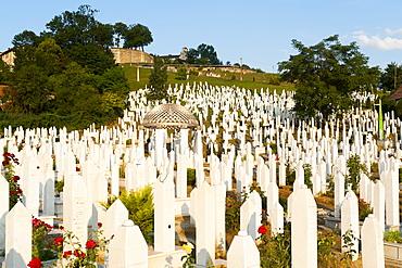 Kovaci War Cemetery with gravestone of first president of Bosnia and Herzegovina, Alija Izetbegovic, Sarajevo, Bosnia and Herzegovina, Europe