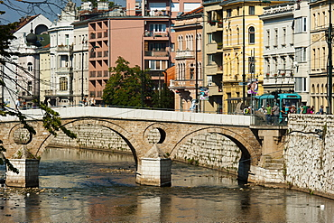 Latinska Cuprija (Latin Bridge) over Miljacka River, place of murder of Archduke Ferdinand, Sarajevo, Bosnia and Herzegovina, Europe