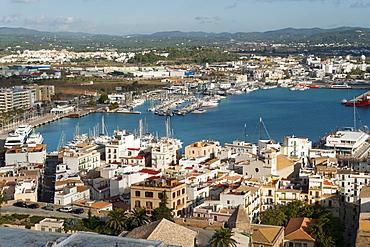 View from the Mirador del Rei Jaume I, Ibiza Castle, Old Town, Dalt Vila, Ibiza (Eivissa), Balearic Islands, Spain, Mediterranean, Europe