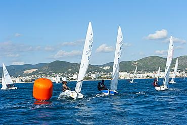Sailboats participating in Regatta and buoy, Ibiza, Balearic Islands, Spain, Mediterranean, Europe