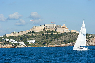 Sailboat participating in Regatta, view of Ibiza Old Town and Dalt Vila, UNESCO World Heritage Site, Ibiza, Balearic Islands, Spain, Mediterranean, Europe