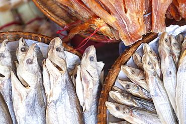 Dried fish, Food market, Phnom Penh, Cambodia, Indochina, Southeast Asia, Asia