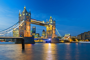 Tower Bridge over River Thames, City of London skyline including Cheesegrater and Gherkin skyscrapers, London, England, United Kingdom, Europe