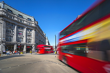 Double decker buses, Oxford Circus, West End, London, England, United Kingdom, Europe