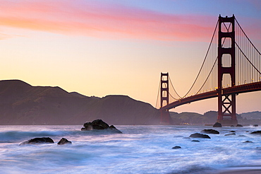 Golden Gate Bridge from Marshall Beach, San Francisco, California, United States of America, North America