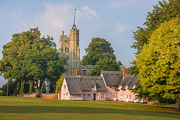 St. Mary the Virgin's Church and the Pink Cottages, Cavendish, Suffolk, England, United Kingdom, Europe