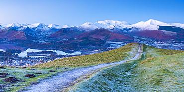 Footpath overlooking Keswick from Latrigg, Lake District National Park, Cumbria, England, United Kingdom, Europe