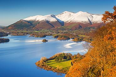 Derwentwater and Skiddaw Mountain, Keswick, Lake District National Park, Cumbria, England, United Kingdom, Europe