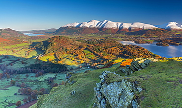 Derwentwater, Skiddaw and Blencathra mountains above Keswick, from Cat Bells, Lake District National Park, Cumbria, England, United Kingdom, Europe
