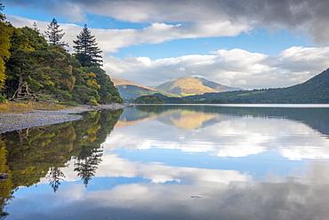 Reflections, Derwentwater, Lake District National Park, Cumbria, England, United Kingdom, Europe