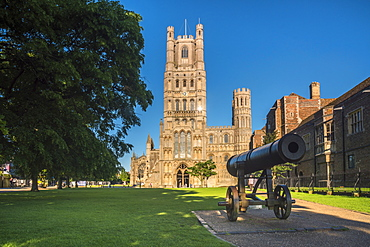 Russian cannon captured during Crimean War, Ely Cathedral, Ely, Cambridgeshire, England, United Kingdom, Europe