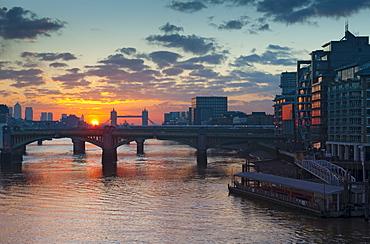 Southwark Bridge and Tower Bridge, London, England, United Kingdom, Europe