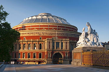 Royal Albert Hall and corner statue of the Albert Memorial, Kensington, London, England, United Kingdom, Europe