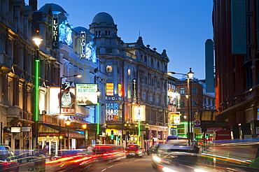 Theatreland in the evening, Shaftesbury Avenue, London, England, United Kingdom, Europe