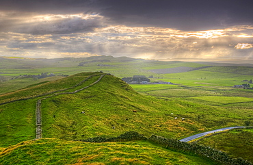Hadrians Wall near Cawfields Quarry, UNESCO World Heritage Site, Northumberland, England, United Kingdom, Europe