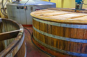 Wash backs, Ben Nevis Whisky Distillery, Fort William, Scotland, United Kingdom, Europe