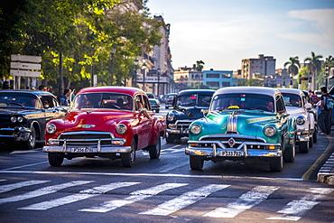 Classic 1950s American cars, Paseo di Marti, La Habana Vieja (Old Havana), Havana, Cuba, West Indies, Caribbean, Central America
