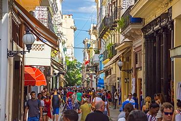 Obispo shopping street, La Habana Vieja (Old Havana), UNESCO World Heritage Site, Havana, Cuba, West Indies, Caribbean, Central America