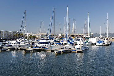 Boats moored at the Knysna Quays marina on the Garden Route, Western Cape, South Africa, Africa