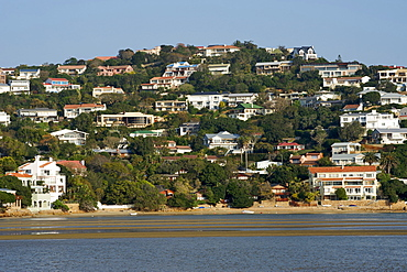 Houses on the bluff of the northern side of the Knysna Heads on the Garden Route, Western Cape, South Africa, Africa
