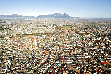 Aerial view over the townships of Crossroads, Nyanga and Guguletu, Cape Town, South Africa, Africa