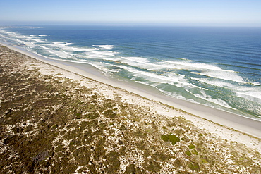Aerial view of the beach and coastline near Yzerfontein and the West Coast National Park north of Cape Town, South Africa, Africa