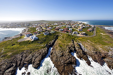 Aerial view over the West Coast town of Yzerfontein north of Cape Town, South Africa, Africa