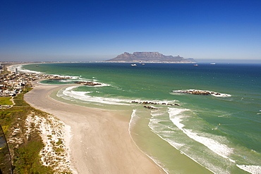 Aerial view south along the west coast north of Cape Town, with Big Bay, Blouberg and Table Mountain visible, South Africa, Africa