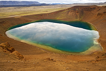 The Krafla crater lake in Viti crater near Myvatn, Iceland, Polar Regions