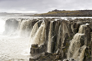 Selfoss waterfall, slightly upstream of the Dettifoss waterfall, on the Jokulsa a Fjollum river near Myvatn, northeast area, Iceland, Polar Regions