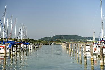 Badacsony marina on the edge of Lake Balaton, Hungary, Europe