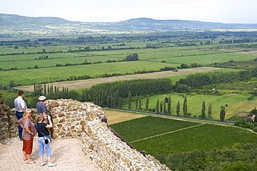 Tourists at Szigliget fort near Lake Balaton, Hungary, Europe