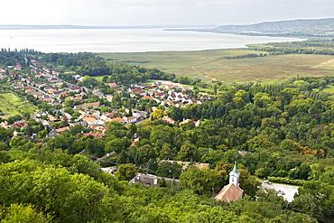 View of Lake Balaton from Szigliget fort, Hungary, Europe