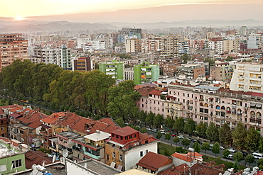 View across the city of Tirana, capital of Albania, Europe