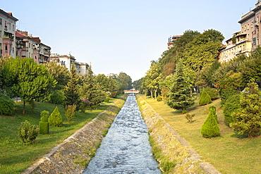 The Lana River in Tirana, capital of Albania, Europe