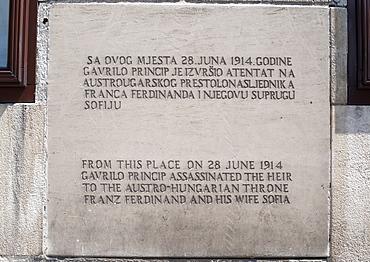 Plaque marking the spot from where Gavrilo Princip assassinated Archduke Franz Ferdinand in Sarajevo on 28 June 1914, Sarajevo, Bosnia and Herzegovina, Europe