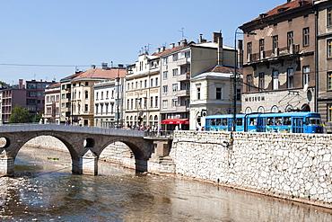 The Latin Bridge, a historic Ottoman bridge over the Miljacka River in Sarajevo, Bosnia and Herzegovina, Europe