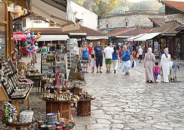 The Bascarsija (bazaar) in Sarajevo, capital of Bosnia and Herzegovina, Europe