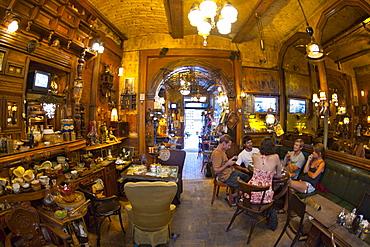 Interior of the Zlatna Ribica (Gold Fish) bar and cafe in Sarajevo, capital of Bosnia and Herzegovina, Europe
